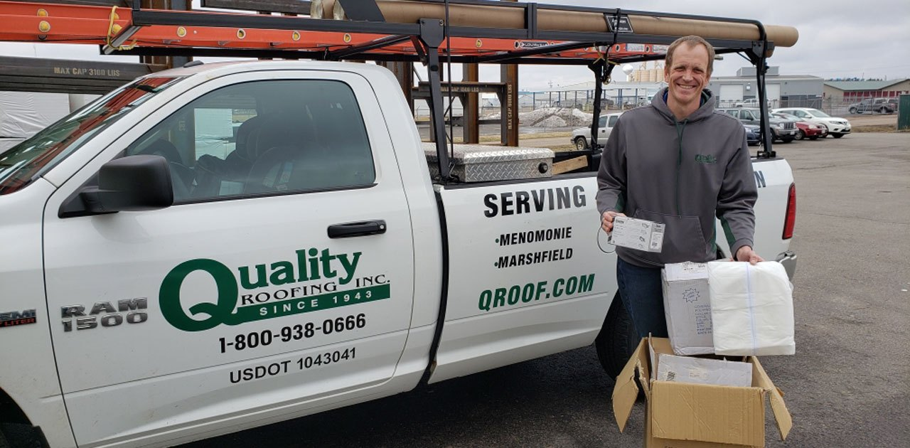 QUALITY ROOFING DONATES PPE INVENTORY TO MARSHFIELD CLINIC