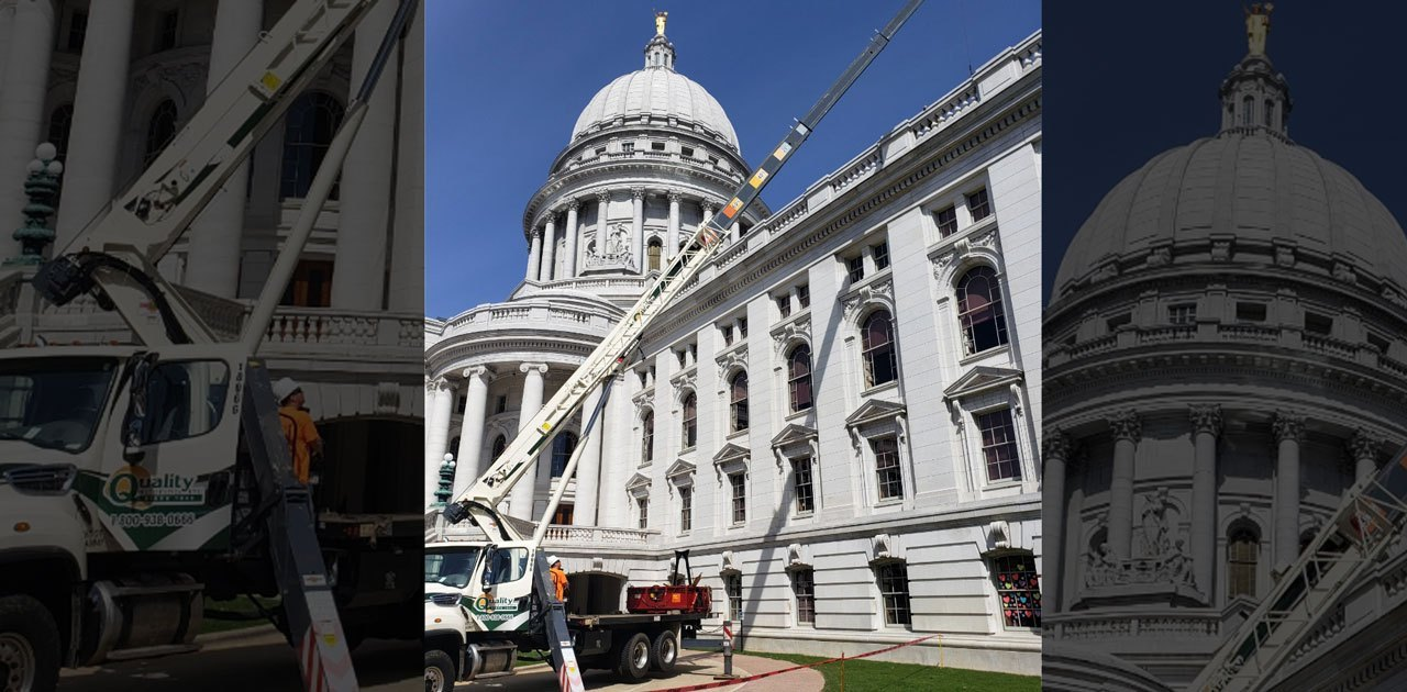 MARSHFIELD'S QUALITY ROOFING REPAIRING WISCONSIN STATE CAPITOL ROOF