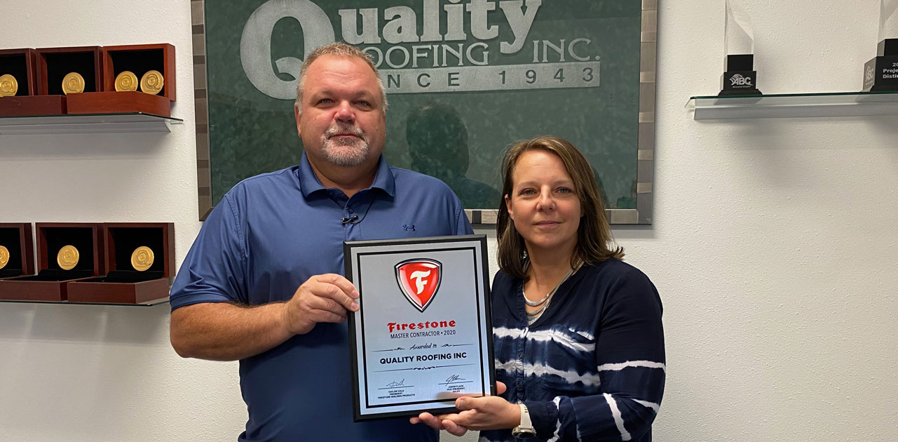QUALITY ROOFING AWARDED PRESTIGIOUS FIRESTONE MASTER CONTRACTOR AWARD